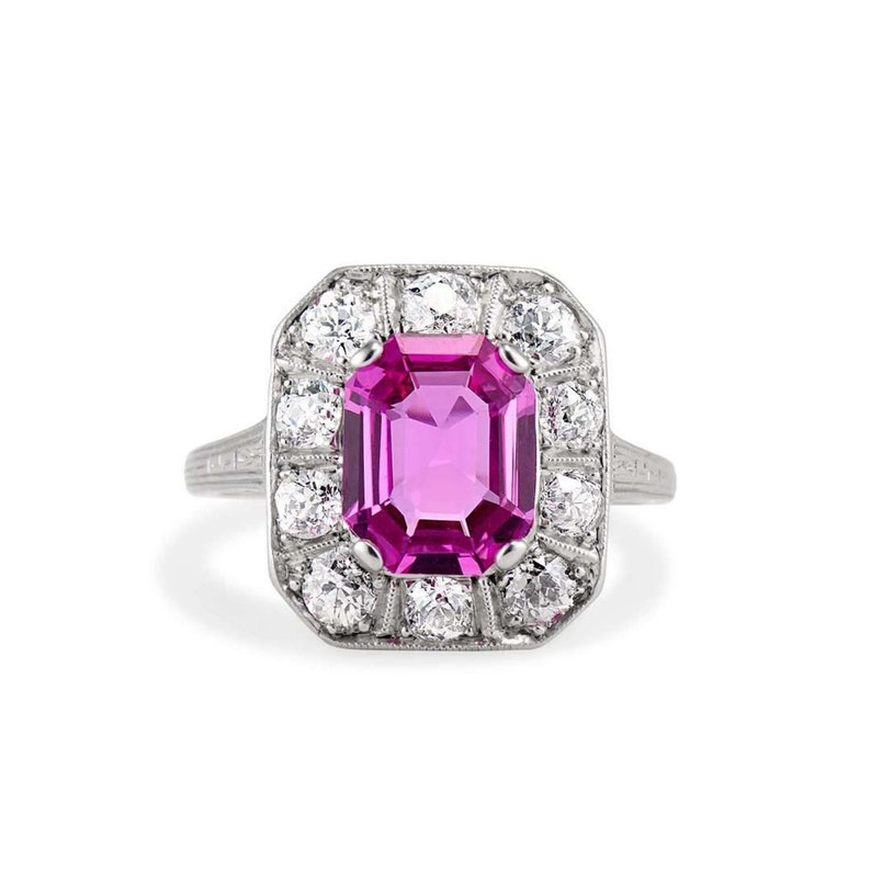 3 Ct Art Deco Octagon Cut Ring 14KT Whit Gold Finish Round Diamond Edging Ring Antique Pink Sapphire Engagement Ring