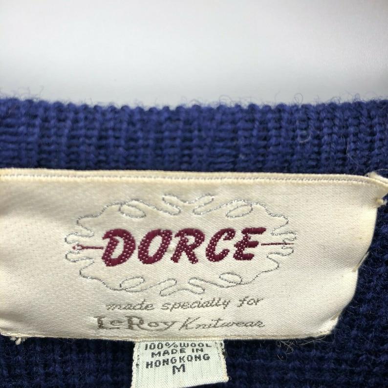 Vintage Dorce LeRoy Knitwear Cardigan Sweater\u00a0 Blue Wool Gold Button Pockets Made in Hong Kong Size Medium