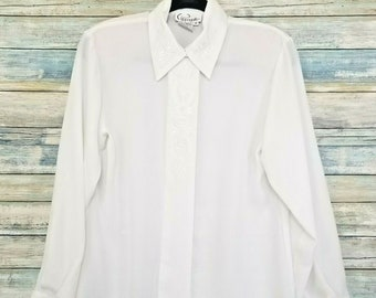 Vintage Cappagallo Women's Top Sz 8 All White Embroidered Collar Shirt Blouse
