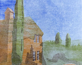 Provence Original woodblock print