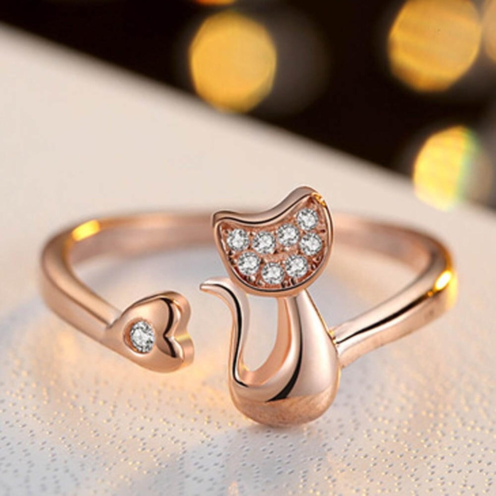 Adjustable Cat Heart Ring