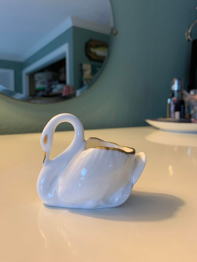 Antique Royal Albert Fine Bone China White Swan w Gold Accents