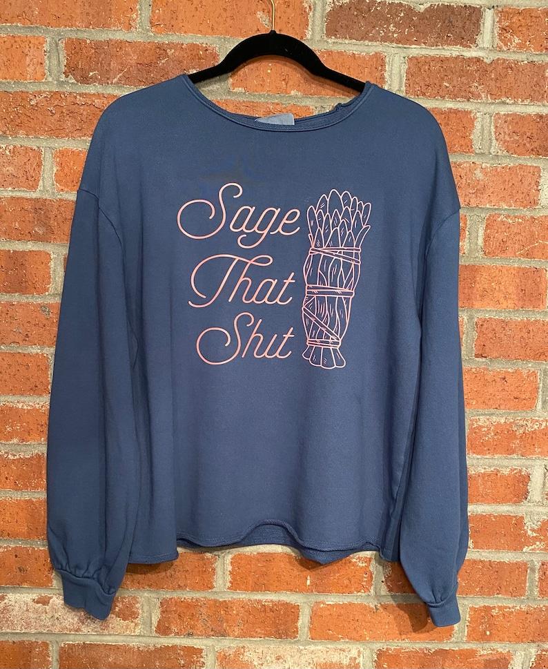 Witchy Woman Sage Sweatshirt Size Medium Blue Pink