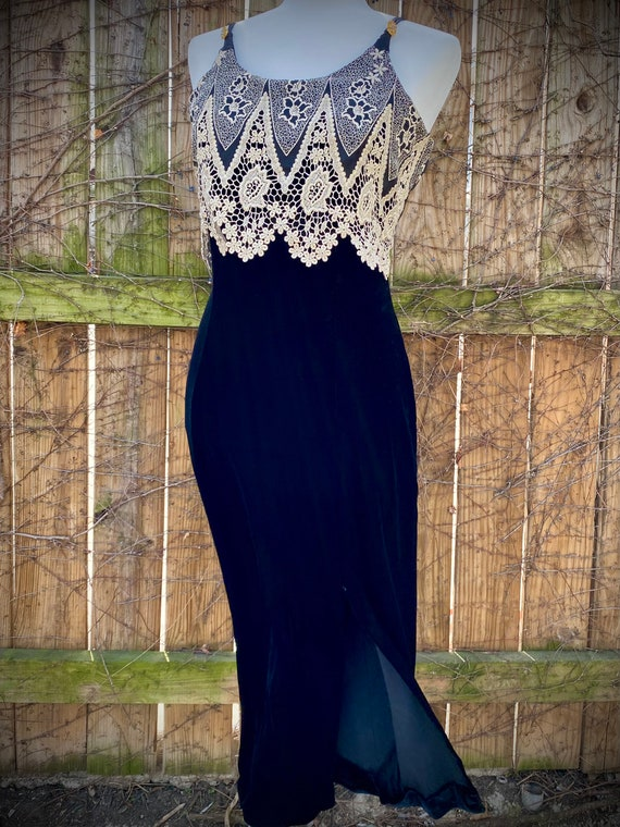 Vintage 1980s Prom Dress Evening Gown Black Velvet Halter Backless White Flocked Floral Maxi Skirt