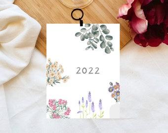 Calendrier 2022, Flowers, Calendrier mural, Minimaliste, Calendar, Eco friendly, Flowers, Aquarelle Illustrations, Flower Calendar, Notes