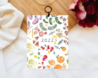 Calendrier 2022, Fruits, Calendrier mural, Minimaliste, Calendar, Eco friendly, Fruit art, Aquarelle Illustrations