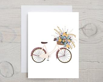 Bicycle art, Greeting card, Bicycle, Flowers, Birthday Wishes, Minimalist Art, Handmade cards