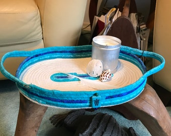 fabric wrapped coiled rope tray Turquoise and white
