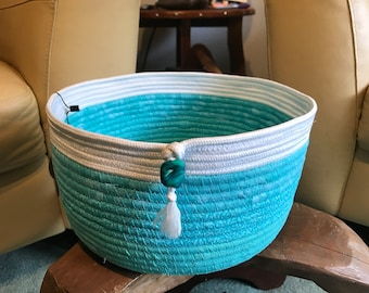 XL Turquoise and white fabric wrapped rope basket