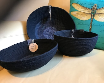 Fabric wrapped baskets black with gray accents Three different sizes to choose from