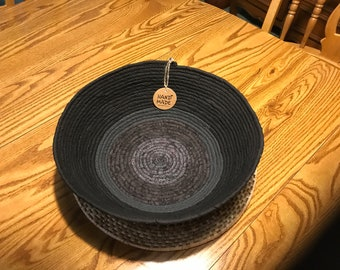 XL Black and Gray Fabric Wrapped Basket