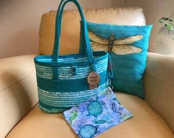 Fabric wrapped rope turquoise tote or beach bag