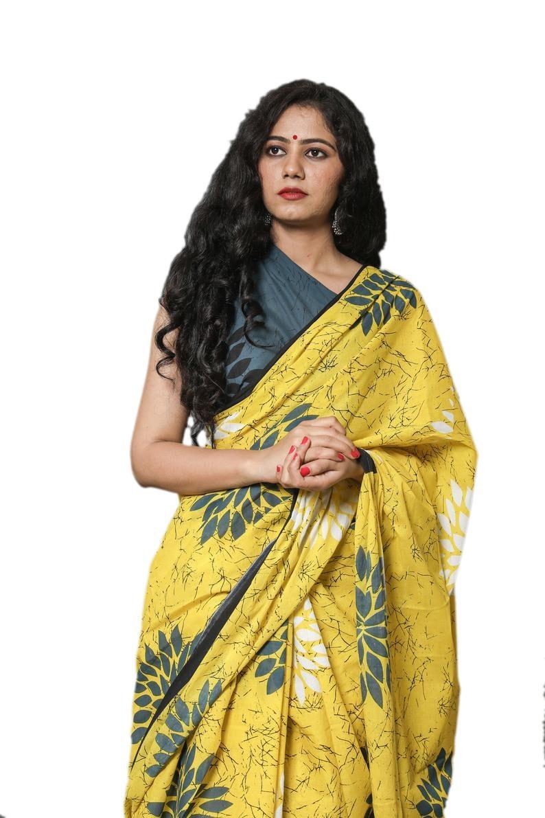 Printed Saree Indian Designer Cotton Malmal Saree for Women and Girls||Cotton Saree |Stitched Saree Designer Sari|Bagru Print Saree