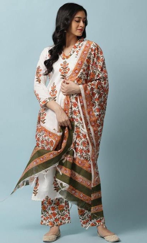 |Designer Dresses||Designer Kurti Set||Kurti Dupatta Set||Free Shipping Designer Printed Cotton Kurti Pant Dupatta Set For Women And Girls