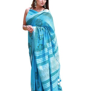 Designer Pure Cotton Malmal Saree With Pumpum Lace for Women and Girls||Cotton Saree||Stitched Saree||Sari||Designer Sari||Bagru Print Saree