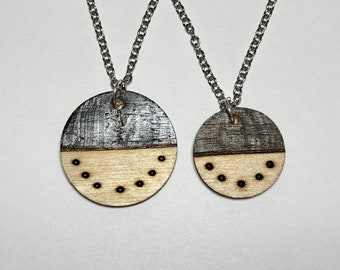 handmade girl gift nature gifts for women Mountain jewelry wood burned jewelry outdoors necklace lightweight pendant necklace