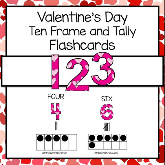 Printable Valentine's Day Ten Frame and Tally Flashcards