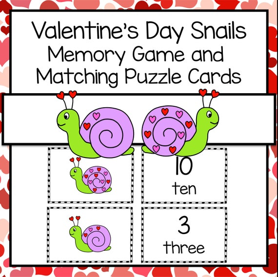 Printable Valentine's Day Snail Memory Counting Game and