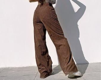 90s Brown Sugar Corduroy All Cotton Easy Pants MInimalist Textured Cotton Lounge Pants M L 27 to 32 Waist