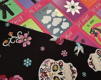 Halloween Deck + Spooky GT Cloth Bundle: Mystery's Halloween Lenormand Deck + Grand Tableau Spread Cloth & Pouch (Sugar Skulls)
