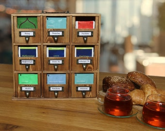Tea box made of high-quality pine wood | Storage shelf for small parts with practical handle and possible wall mounting