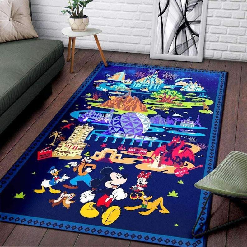 Housewarming Gift Disney Happy World Rug Disney Carpet Disney Rug Disney Lover Gift Floor Decor Mickey Mouse Rug Mickey Lover Gift