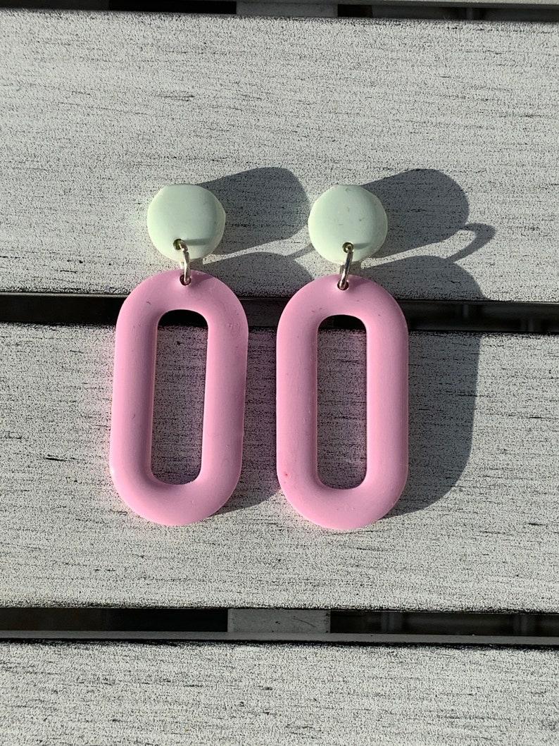 Pastel pink resin earrings