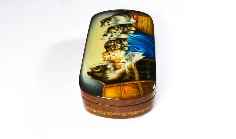 Christmas Gift Hand painted Box Russian Lacquer box Cat lesson Handcrafted wedding gift Handmade Souvenir box.