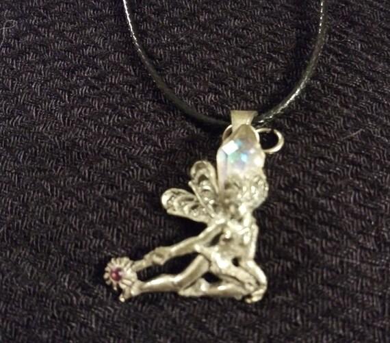 Vintage Fairy Pendant with Quartz and Sapphire Gem
