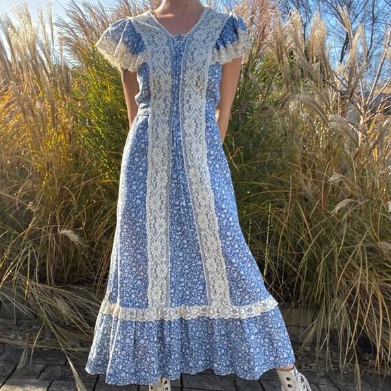 blue calico floral prairie dress