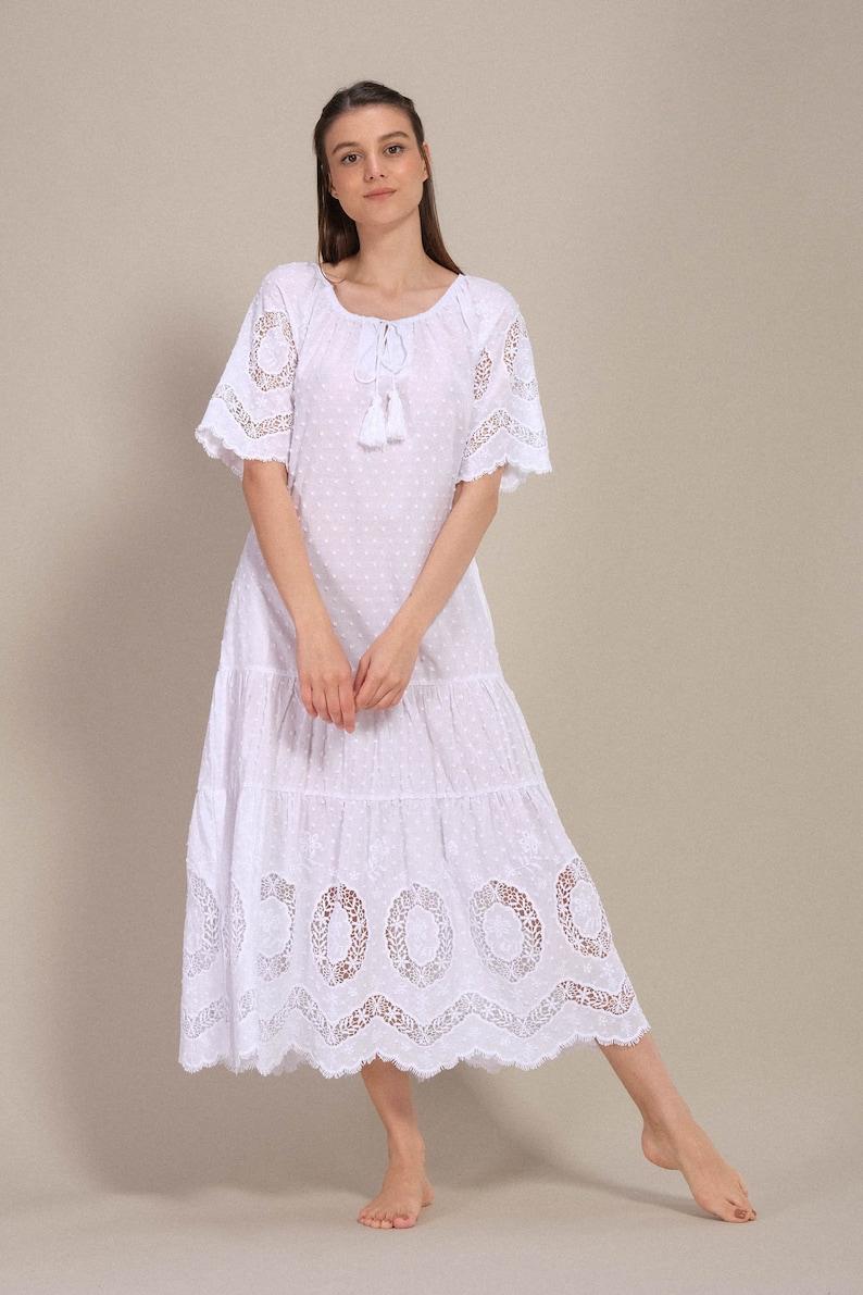 White Cocktail Dress Maxi Dress Midi Dress Cotton dress Bohemian Hippie Dress Boho Lace dress Boho Summer Dress