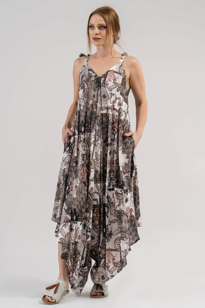 Brown Shawl Patterned Authentic Jumpsuit Gift for her