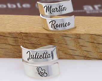 Double Hoop - Custom Name Ring in Sterling Silver 925 - Ideal for Mother's Day, Birthday, Anniversaries