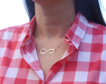 Double Hoop - Custom Infinity Necklace with Names in Sterling Silver 925 - 45cm length with adapter included