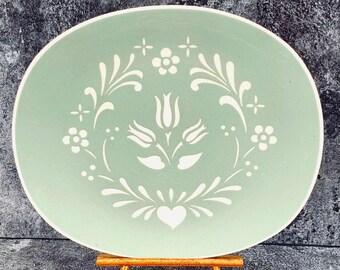 Harkerware Provincial Tulip Green Oval Platter Serving Piece