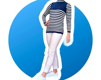 Vintage Navy and White Striped Mock-neck Tunic