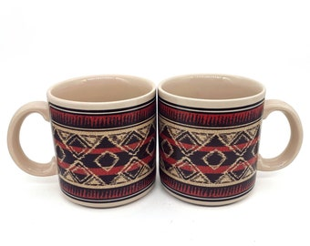VTG Chaps Ralph Lauren Flannel 10 Oz Coffee Mugs Cups Red Blanket Style Set of 2