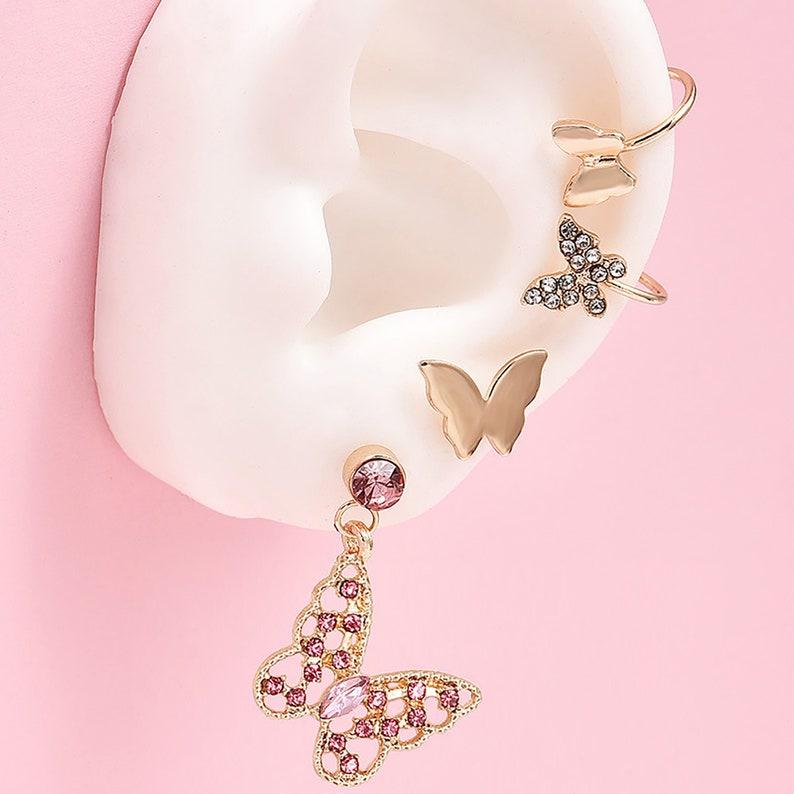 Tiny  Earrings Earrings Cartilage Diamond Hoop Earrings Butterfly Studs Earrings Studs Earrings Set Gold Earrings Set Dainty Earrings