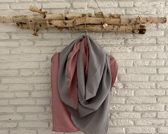 Muslin Cloth Scarf XXL 2Colored multiple sizes and colors Handmade / Old Pink Light Gray