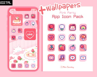 63 App Icon Pack / Pink Party / Wallpapers & Widgets / Pixel / iOS 14 App Icons / Home Screen
