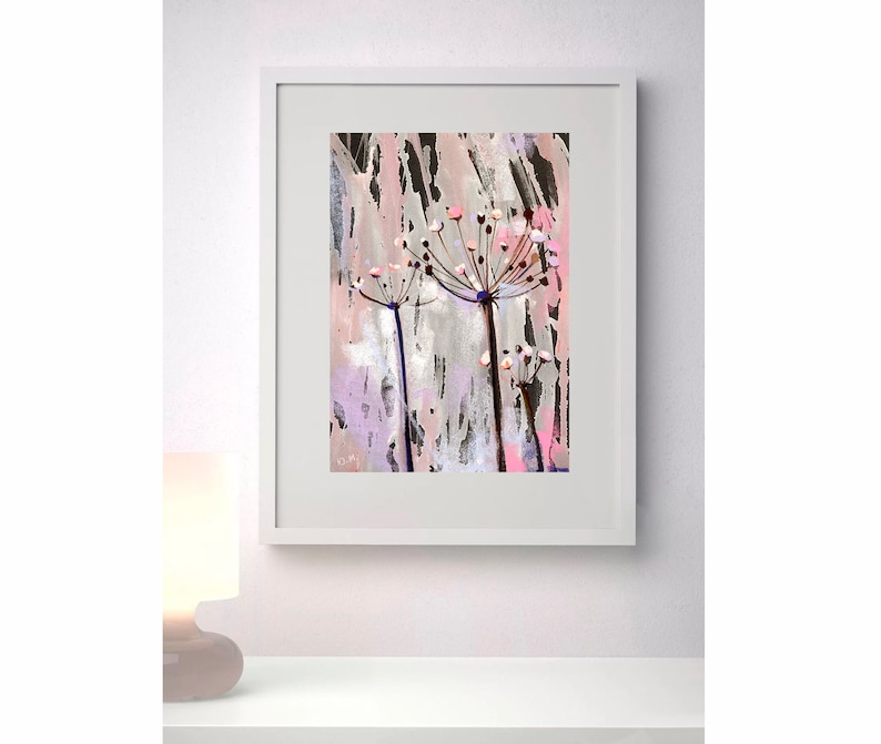 Abstract pink Floral pink artwork Abstract painting Original pastel Abstract drawing Pastel on paper Artwork for her Home Decor Flower Art