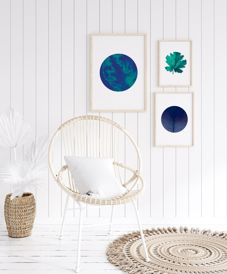 teal Set of 3 abstract circle prints celestial blue room decor printable wall art leaf textures in circle navy blue decor turquoise