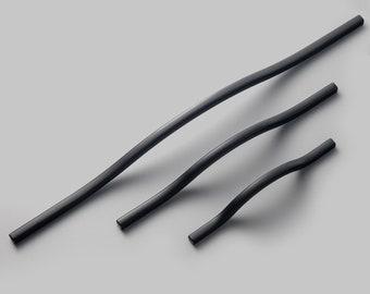 High-End Handle Modern Curved Subtle Arch Handle Black Wardrobe Long Handle Black Drawer Pulls Hardware Kitchen Handles for Cabinets