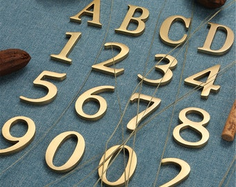 Pure Brass Self-Adhesive Mailbox Numbers Symbols Alphabet Door House Numbers Golden Street Address Number of Residential Mailbox