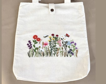 Handmade Embroidery Floral Linen Tote Bag Wild Flowers