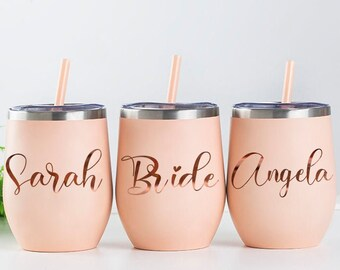 Personalized Wine Tumbler Custom Wine Tumbler With Straw Bachelorette Party Favors Bridesmaid Gift Bridesmaid Wine Cup Bridesmaid Proposal
