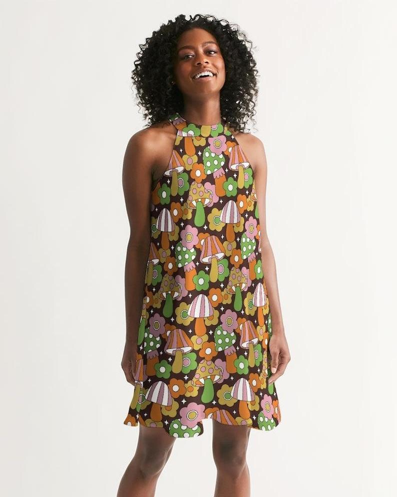 1960s Style Clothing & 60s Fashion Retro Hippie Mushrooms Womens Halter Dress - Sleeveless Vintage Print A Line Dress Summer Festival Sundress Cottagecore Magic Mushroom $57.97 AT vintagedancer.com