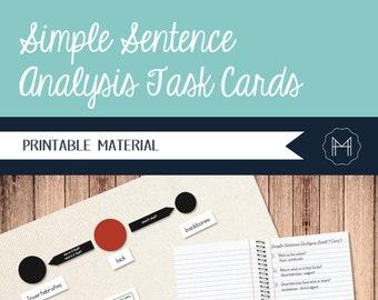 Simple Sentence Analysis Task Cards