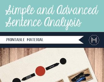 Montessori Style Simple and Advanced Sentence Analysis- Printable