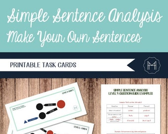 Simple Sentence Analysis Task Cards- Create Your Own Sentences